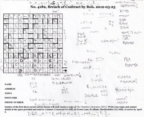 my working grid for Listener Crossword 4182, Breach of Contract by Ron